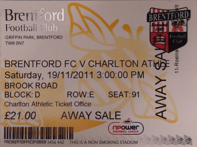 Brentford FC - Charlton Athletic FC, Griffin Park, League One, 19/11/2011