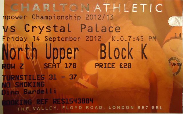 Charlton Athletic - Crystal Palace FC, Valley, Championship, 14/09/2012